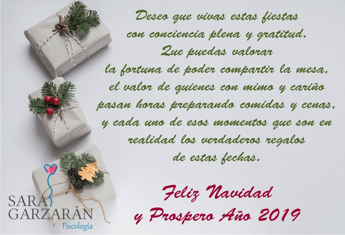 Feliz Navidad y Próspero Año 2019. Sara Garzarán Psicología. Las Rozas