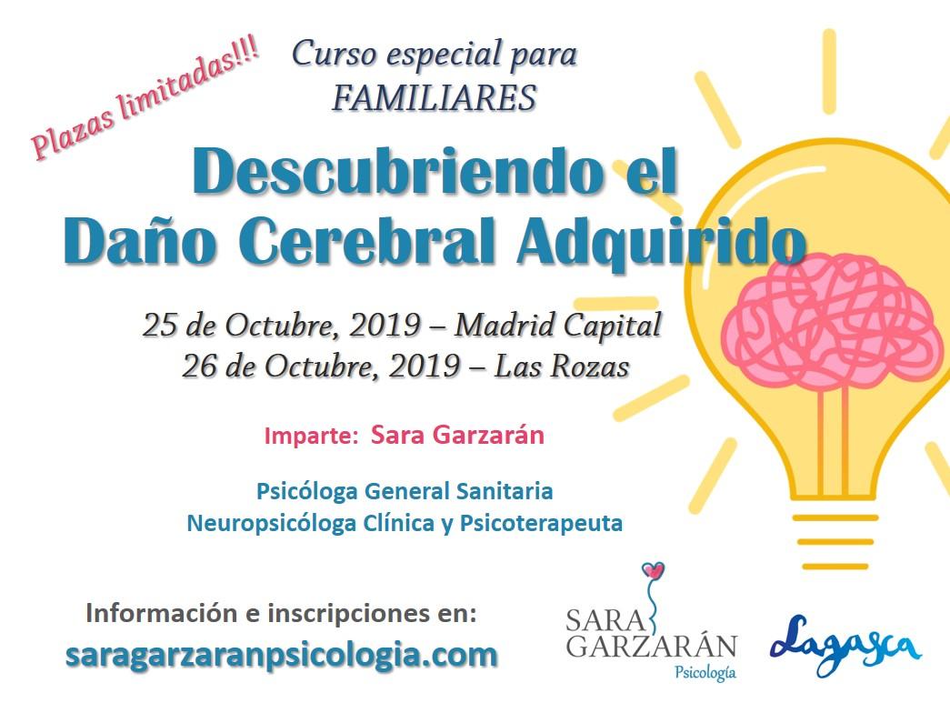 Cartel Curso Daño Cerebral Familias Las Rozas y Madrid