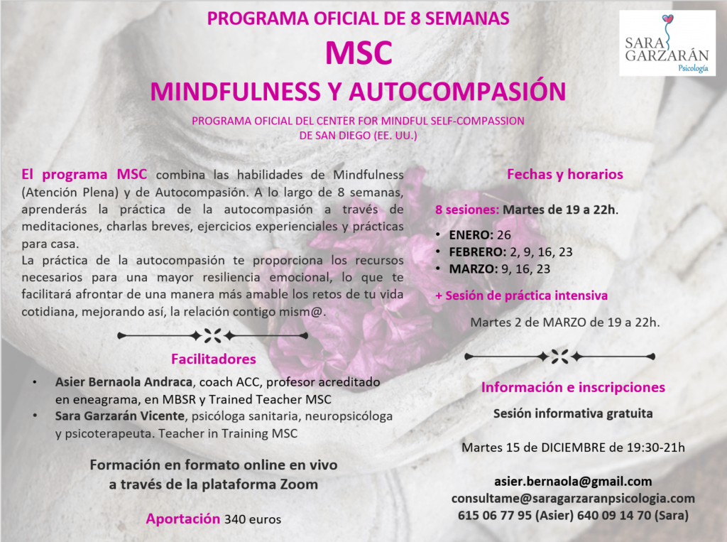 Cartel MSC Mindfulness y Autocompasión