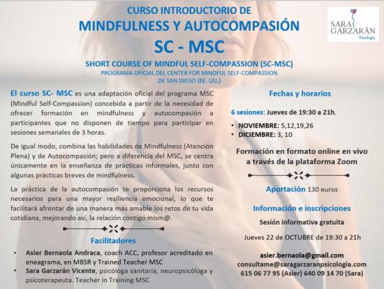 Cartel SC-MSC Mindfulness y Autocompasión