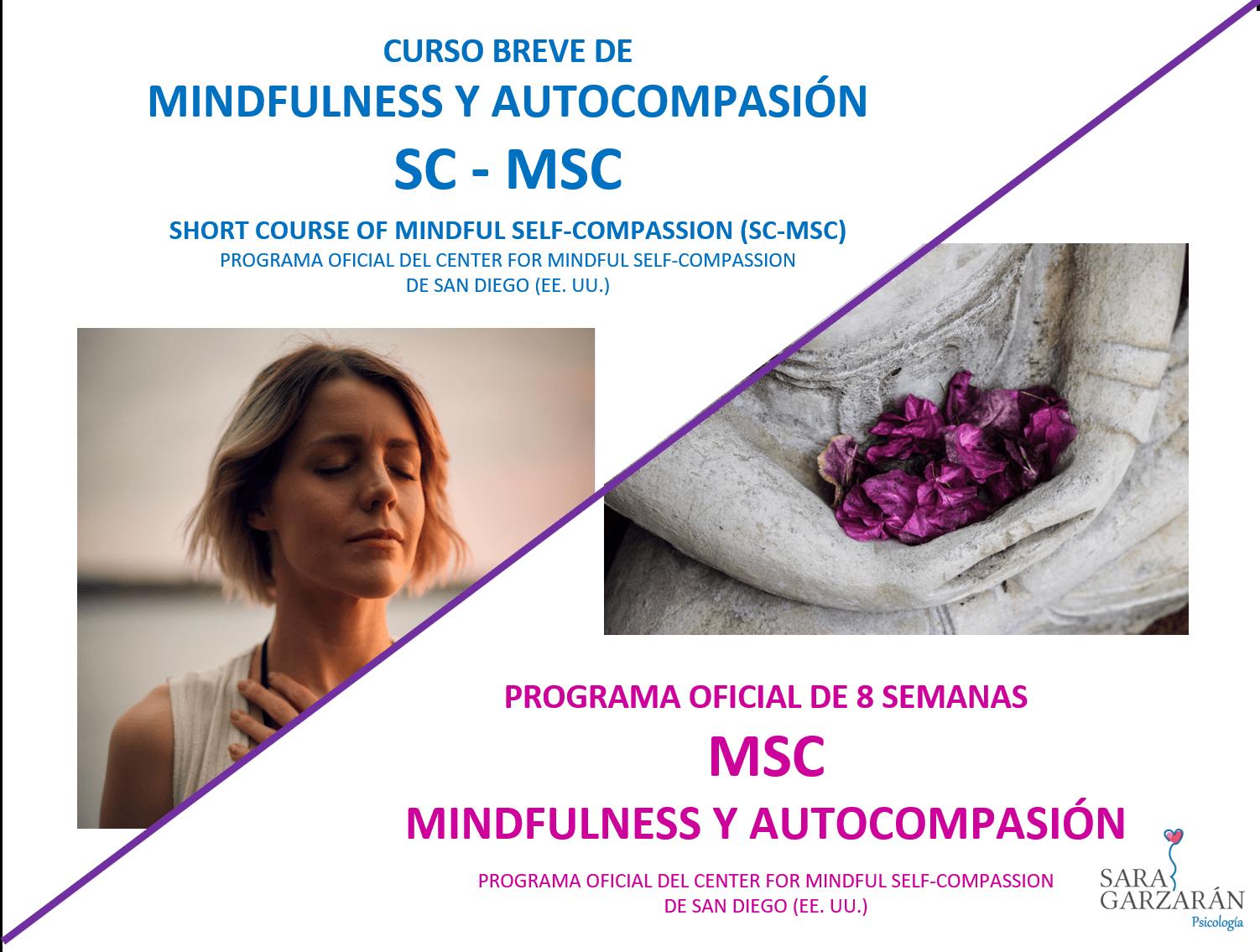 Cartel mixto SC-MSC y MSC Mindfulness y Autocompasión